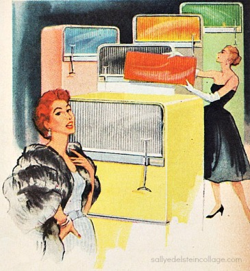 Vintage illustration ad housewives  1950s refrigerators