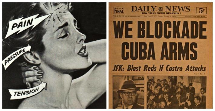 vintage asprin ad, vintage newspaper 1962 Missile Crisis