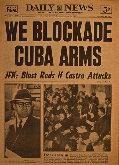 vintage newspaper headline Missile Crisis 1962