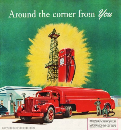 vintage illustration oil truck, gas pump, oil well