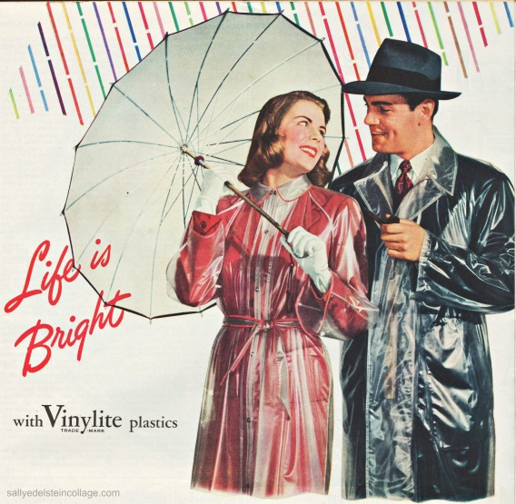 vintage picture couple in rain 1940s