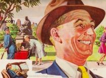 Vintage illustation man in hat smiling 1950s