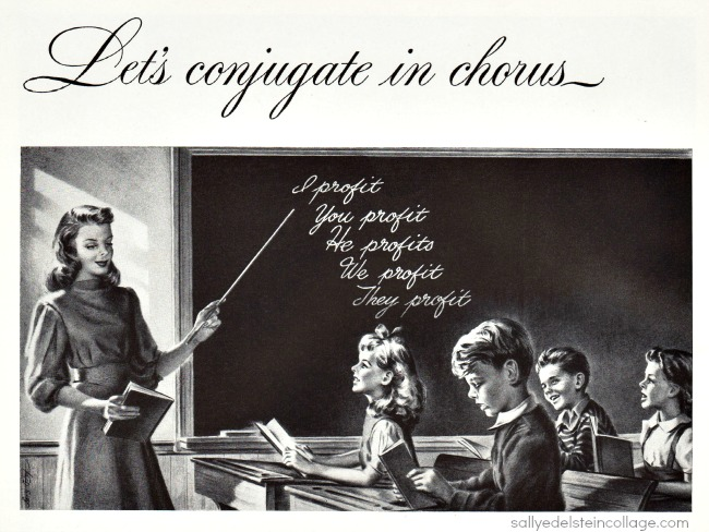 vintage illustration 1940s classroom teacher children