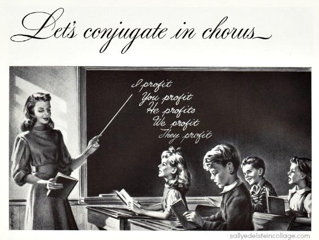 vintage illustration 1940s classroom teacher children