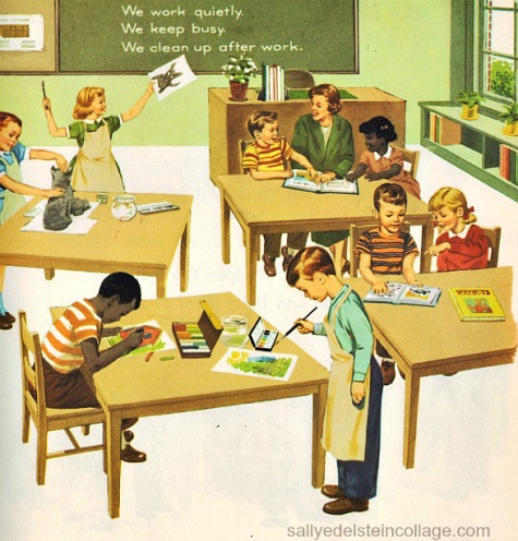vintage childrens cook illustration school classroom
