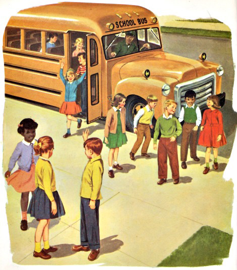 Vintage Childrens School Book Illustration 1960 school bus