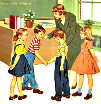 Vintage Childrens School Book Illustration 1960 teacher and pupils