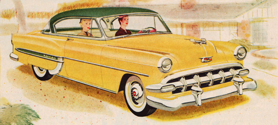 vintage illustration 1950s car Chevy