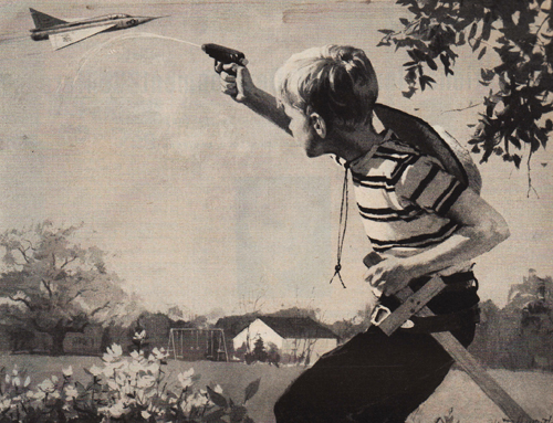 picture of boy shooting a plane 1940s
