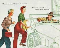 vintage illustration WWII Rosie Riveter off to work vintage ad