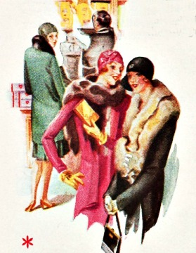 vintage illustration 1930s Housewives  shopping