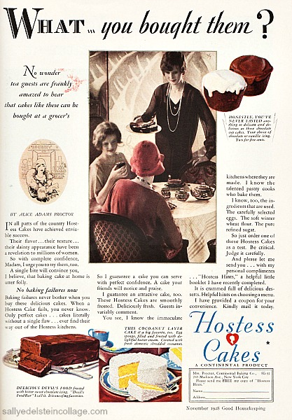 Vintage Ad Hostess Cakes 1928 illustration housewife serving tea