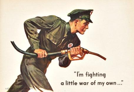 Vintage WWII Ad Texaco Gas 1945 vintage illustration gas serviceman