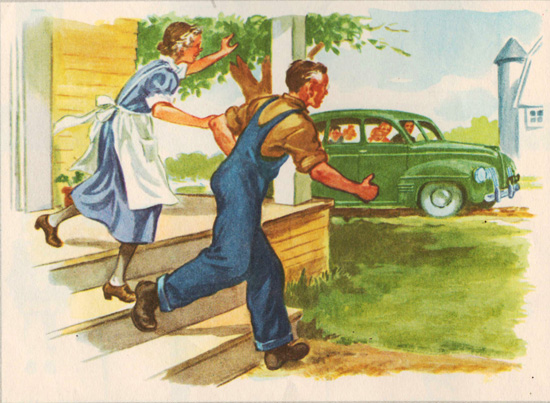 vintage childrens illustration grandparents on the farm