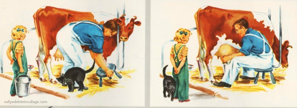 vintage childrens schoolbook illustration, milking a cow on farm