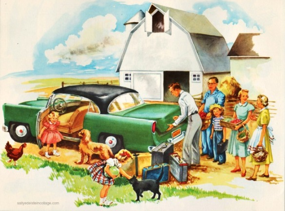 vintage childrens illustration family on farm and car 1950s