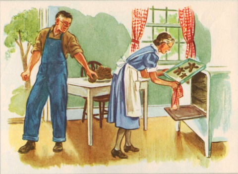 school book illustration on the farm Dick Jane & Sally grandparents