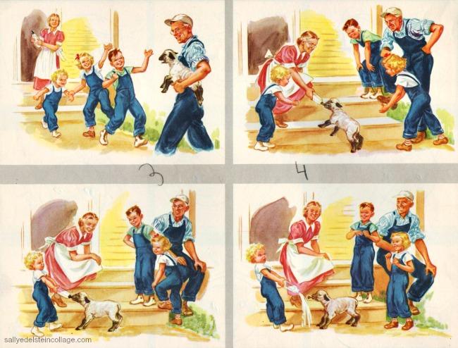 Vintage childrens schoolbook illustration grandmother grandfather on farm