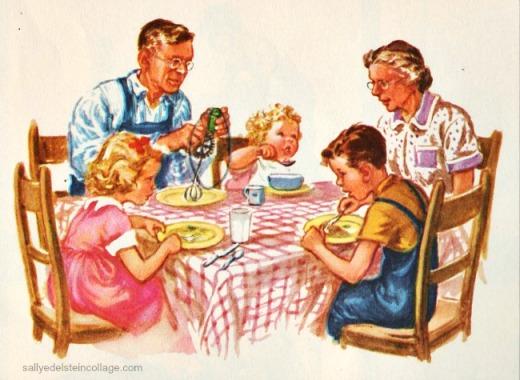Vintage Schoolbook illustration Dick Jane and Sally 1950s