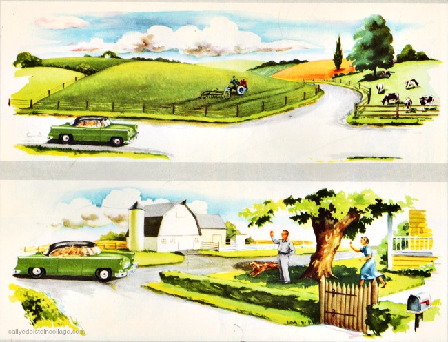 vintage childrens schoolbook illustration 1956 farm