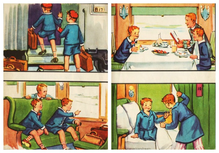 vintage childrens schoolbook illustration 1930s train