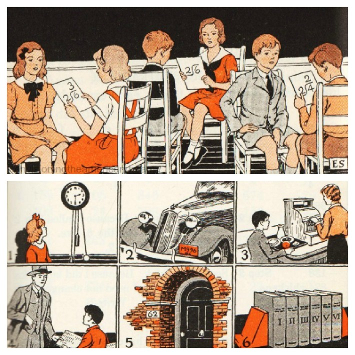vintage illustration 1935 children in school