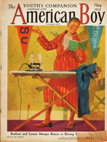Vintage magazine 1932 American Boy illustration boy in bedroom