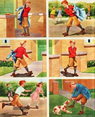 Vintage Childrens Schoolbook illustration 1940s