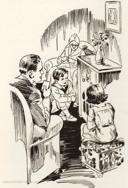 Vintage childrens illustration 1930s listening to radio