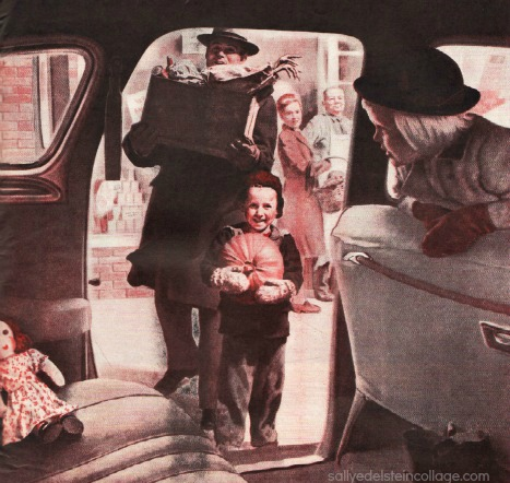 Vintage Ad family going into car for Thanksgiving 1940s