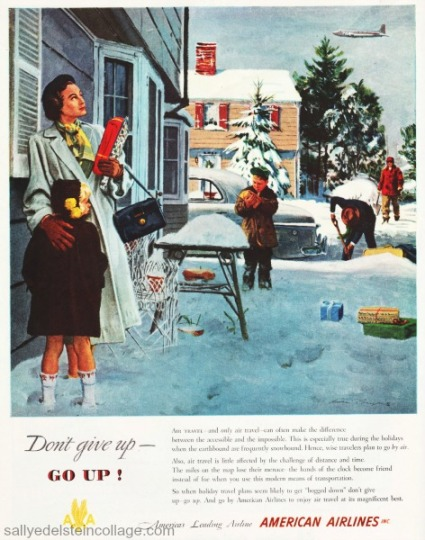 Vintage ad illustration 1940s suburban family in snow at holiday time