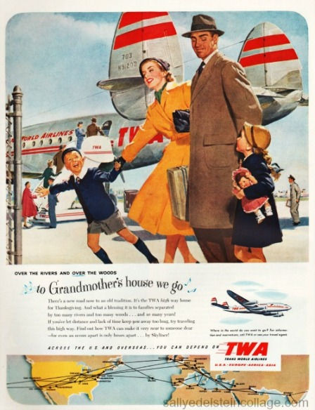 Vintage illustration 1950s family boarding airplane
