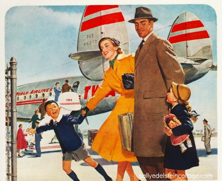 Vintage illustration 1950s family getting on airplane