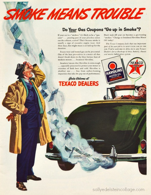 Vintage WWII Ad 1944 Texaco Oil vintage illustration smoking car and man