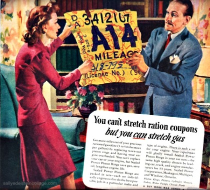 Vintage WWII AD Illustration couple pulling gas coupon