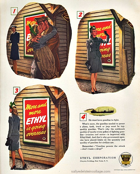 WWII  Ethyl Gasoline 1944 illlustration soldier and girlfriend gas rationing