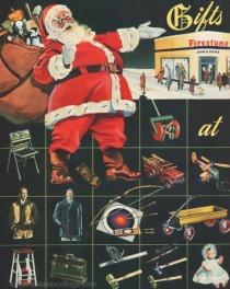 Vintage Ad Xmas Firestone 1945 Santa Claus