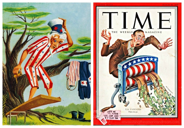 Vintage illustrations American Taxpayer Uncle Sam