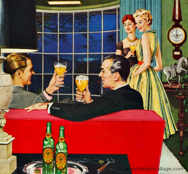 vintage illustration adults party 1950s