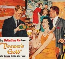 vintage illustration suburban partyvintage Ad  Ballantine Beer