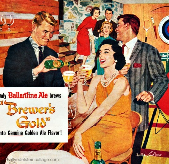 Vintage Beer Ad illustration party 1950s