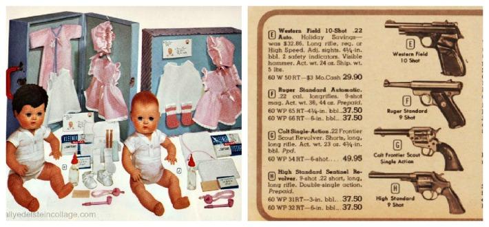 vintage Xmas catalog gun dolls