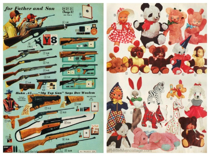 vintage Xmas catalog guns and stuffed animals