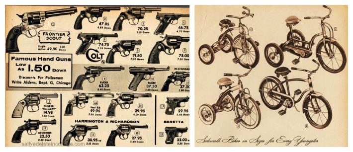 vintage Xmas catalog guns bikes 1950s