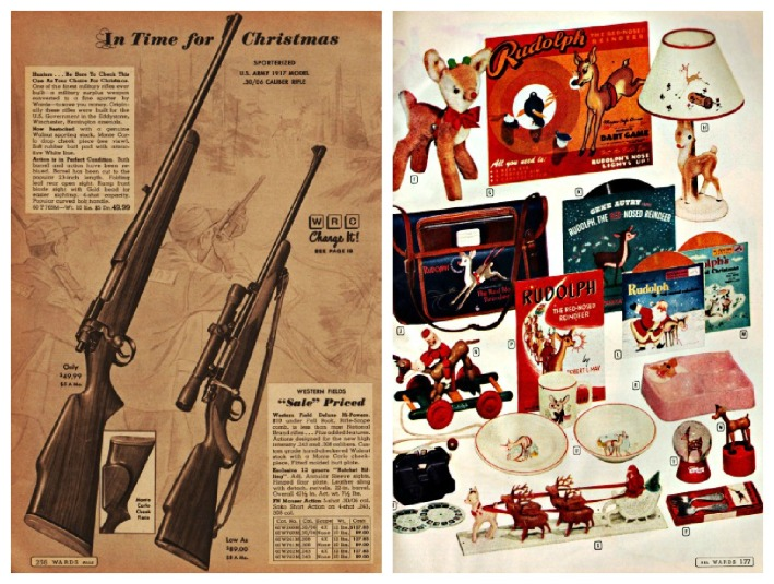 Vintage Xmas catalog guns rudolph the red nose reindeer