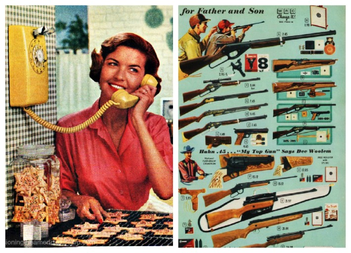Vintage photo housewife on phone and catalog of guns