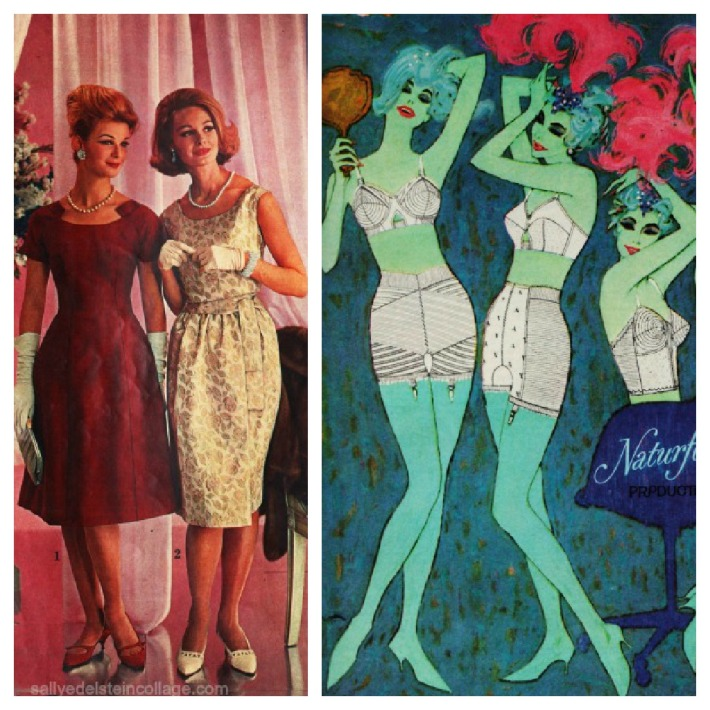 Vintage womens fashion 1960 and Vintage lingerie ad girdles 1960