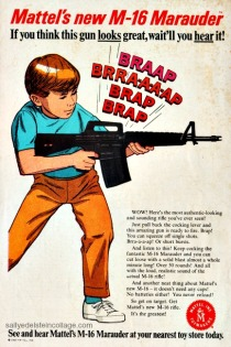 illustration little boy with gun ad