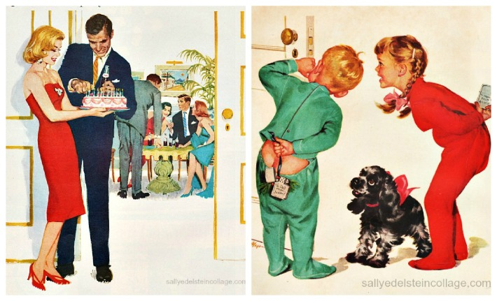vintage illlustrations ads party kids 1950s