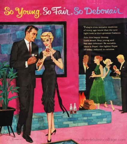Vintage ad Pepsi Cola 1950s illustration couples party